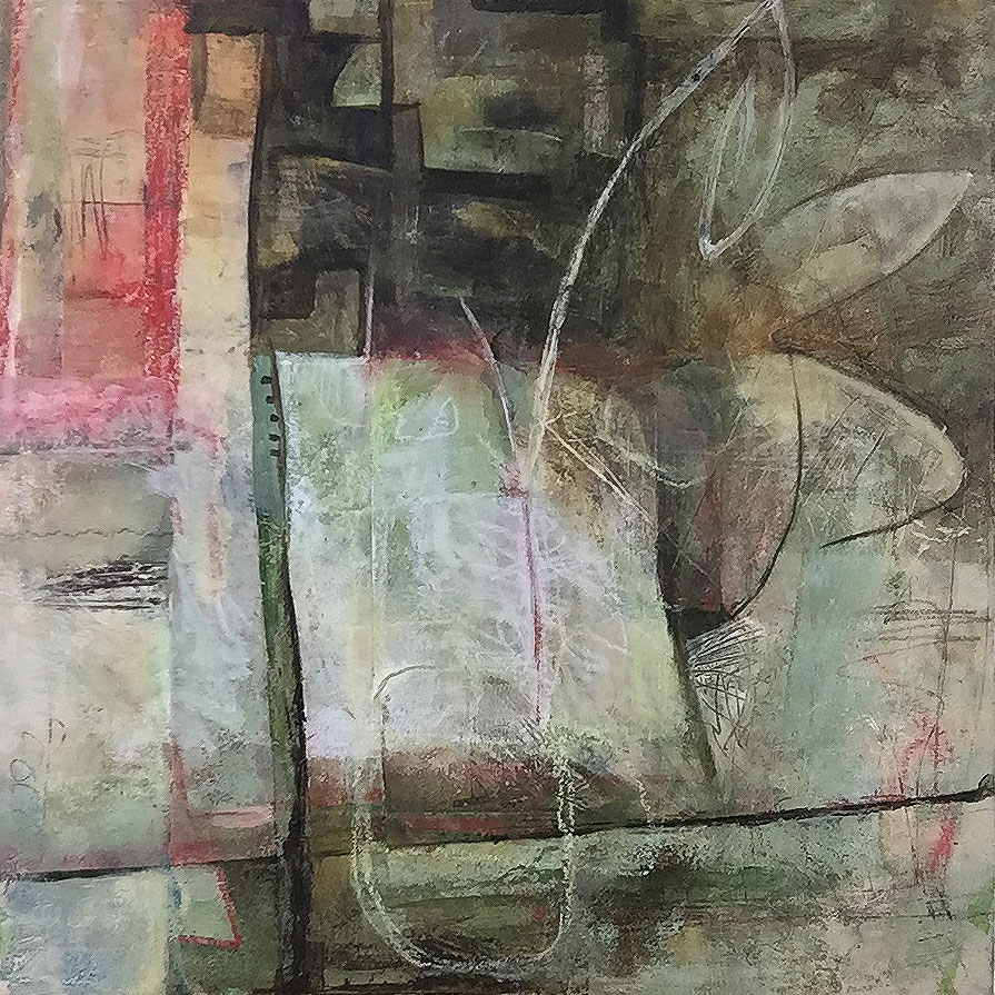 "Janet Jaffke acrylic mixed media painting ""Le Début"""