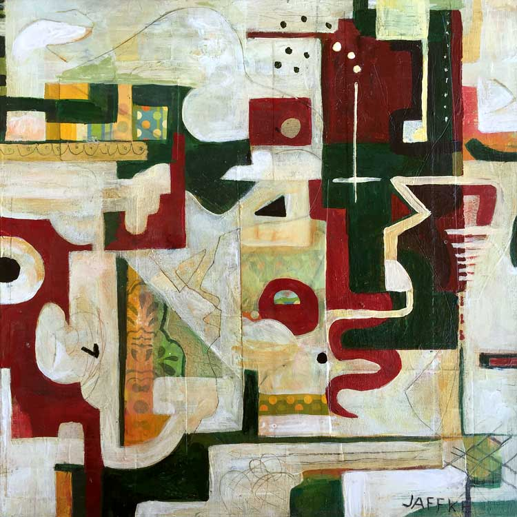 "Janet Jaffke acrylic mixed media painting ""Maze"""