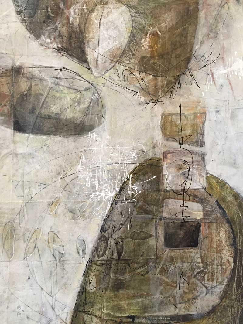 Mixed media on paper, mounted on wood