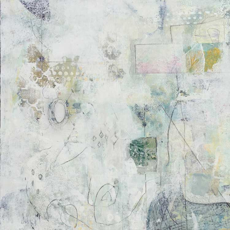"Janet Jaffke acrylic mixed media painting ""Remnants"""