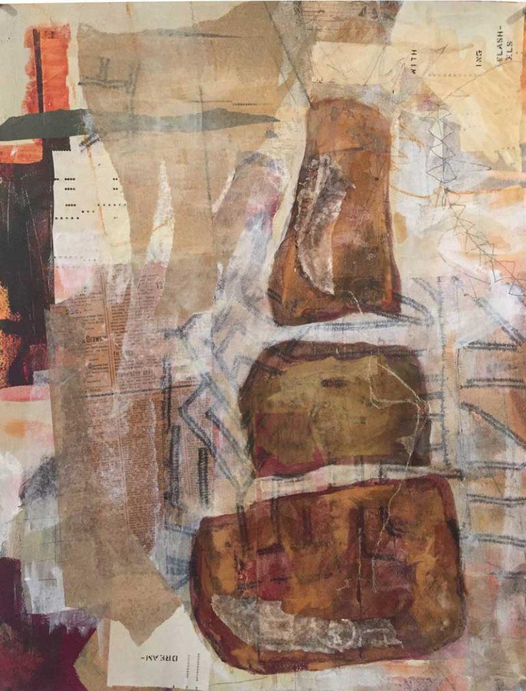 "Janet Jaffke acrylic mixed media painting ""Treasure Tower"""