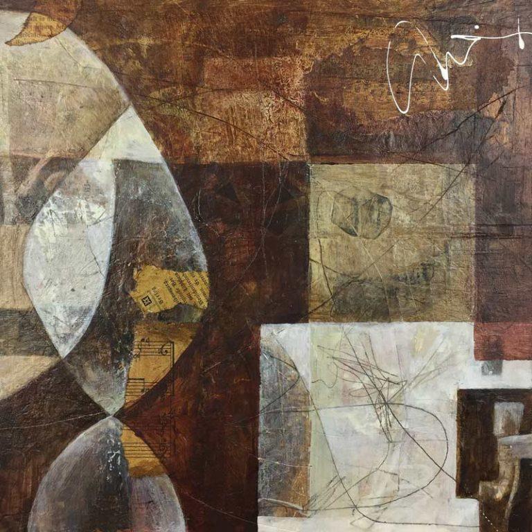 "Janet Jaffke acrylic mixed media painting ""Patiently Polished"""