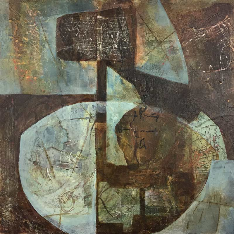 "Janet Jaffke acrylic mixed media painting ""Copper and Rust"""