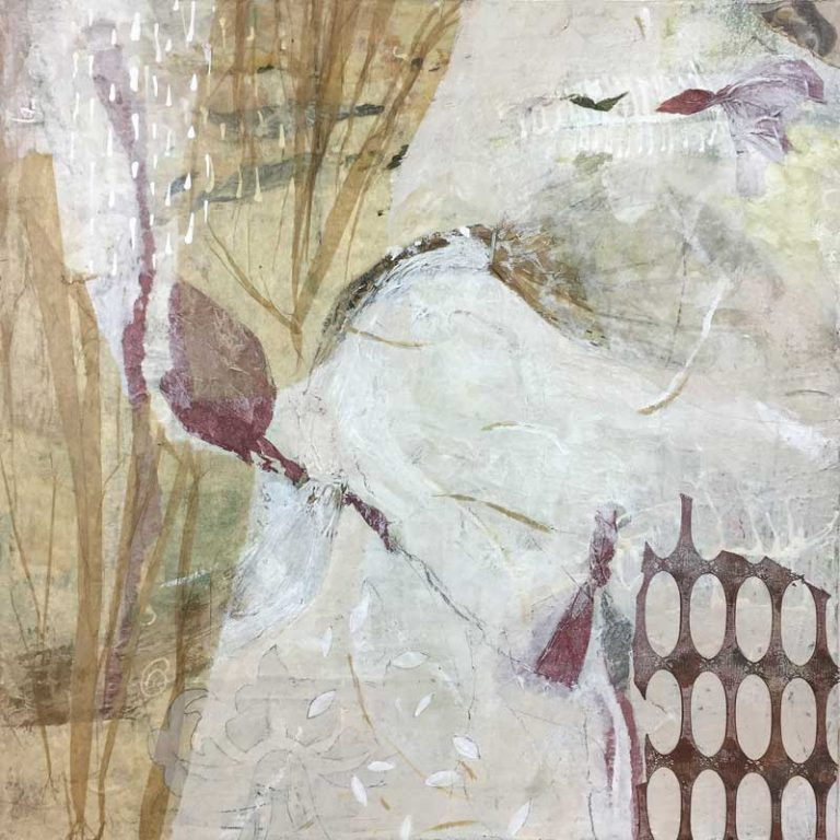 "Janet Jaffke acrylic mixed media painting ""Grandmom's Curtain"""