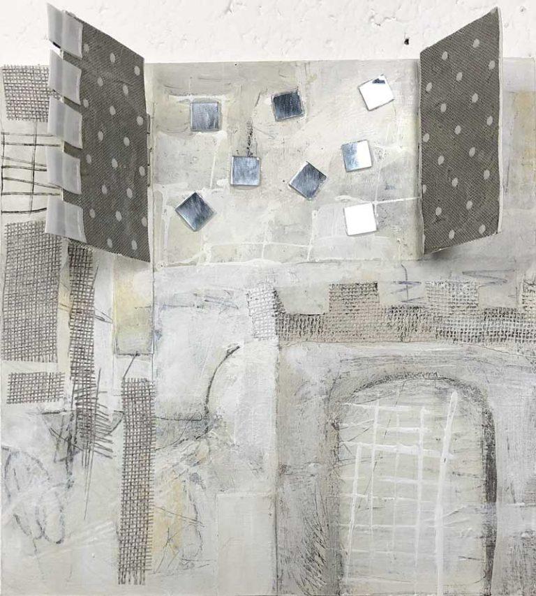 "Janet Jaffke acrylic mixed media painting Janet Jaffke acrylic mixed media painting ""Bad Karma"""