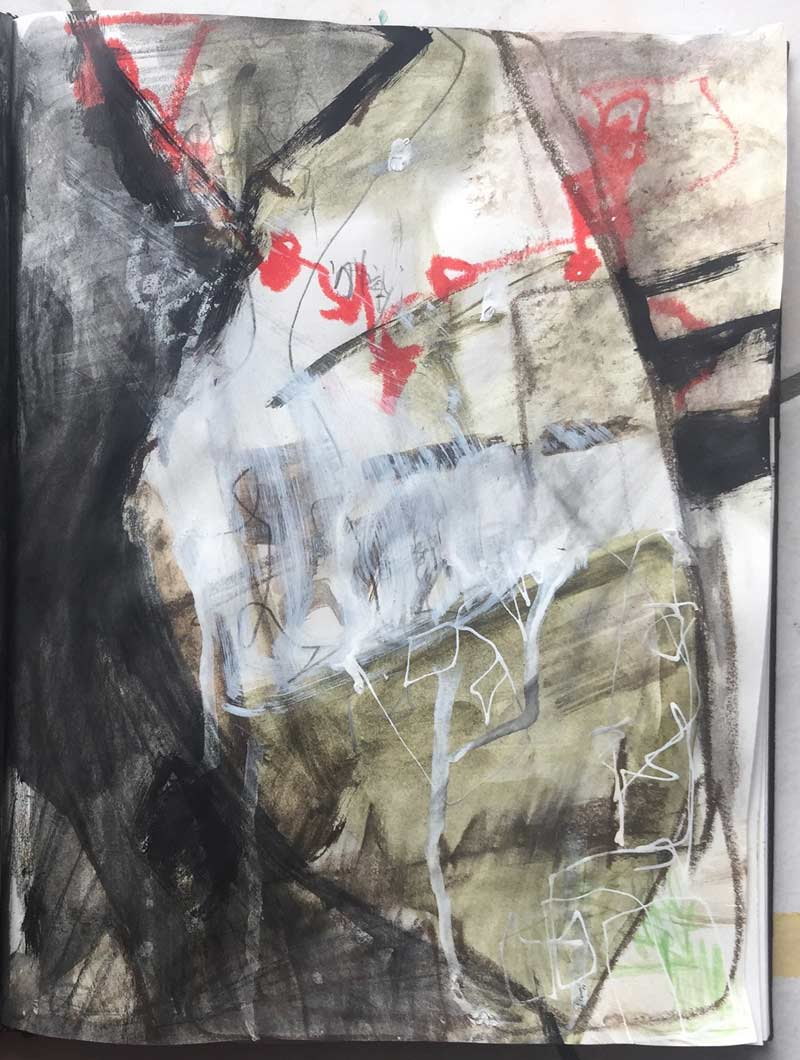 Janet Jaffke acrylic mixed media sketchbook study - January 2018