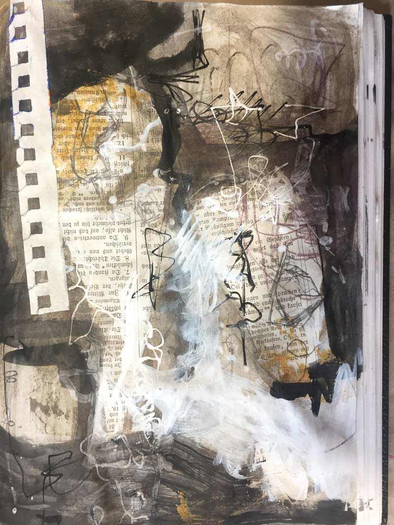 Janet Jaffke acrylic mixed media sketchbook study - January 2018