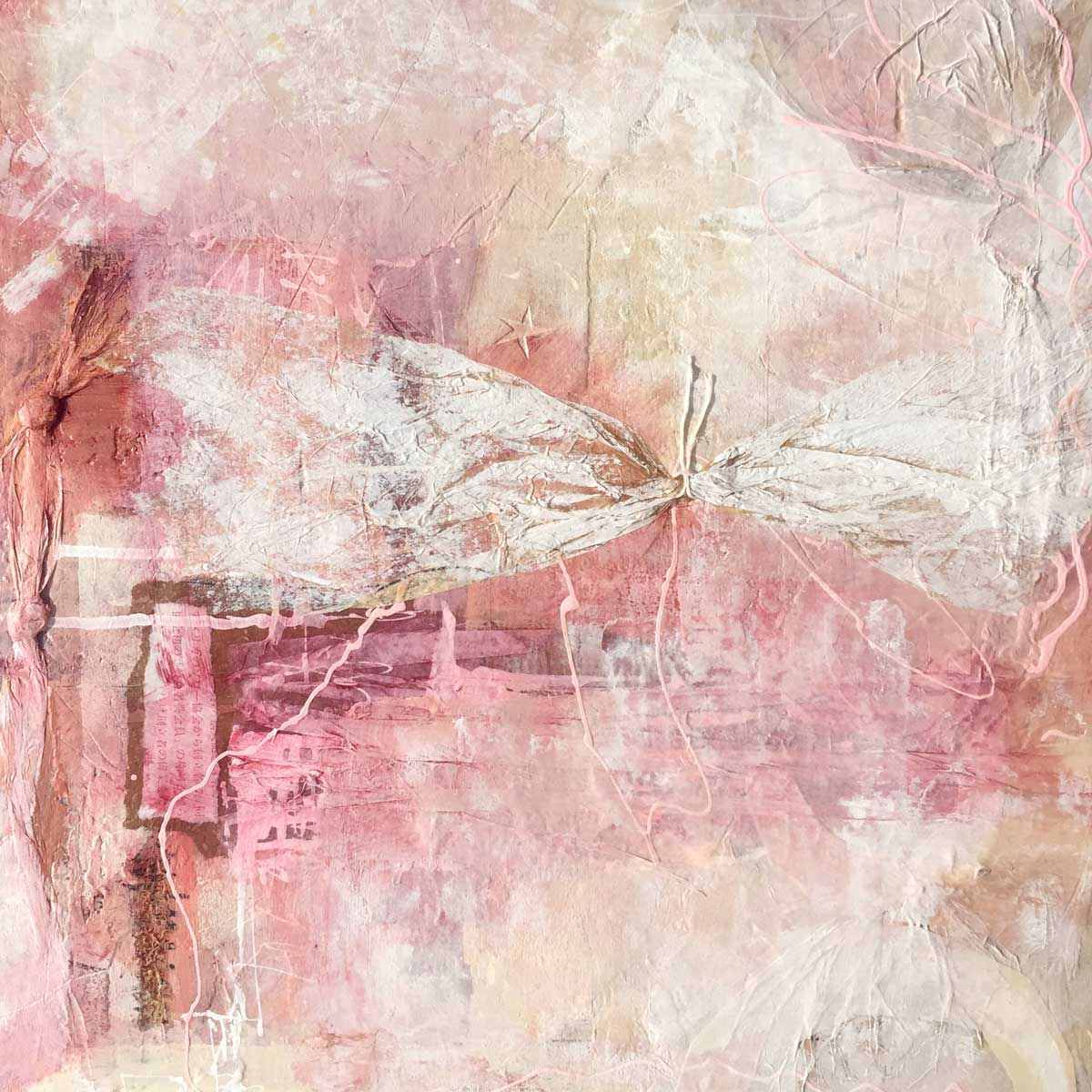 "Janet Jaffke acrylic mixed media painting ""A Pinker Past"""