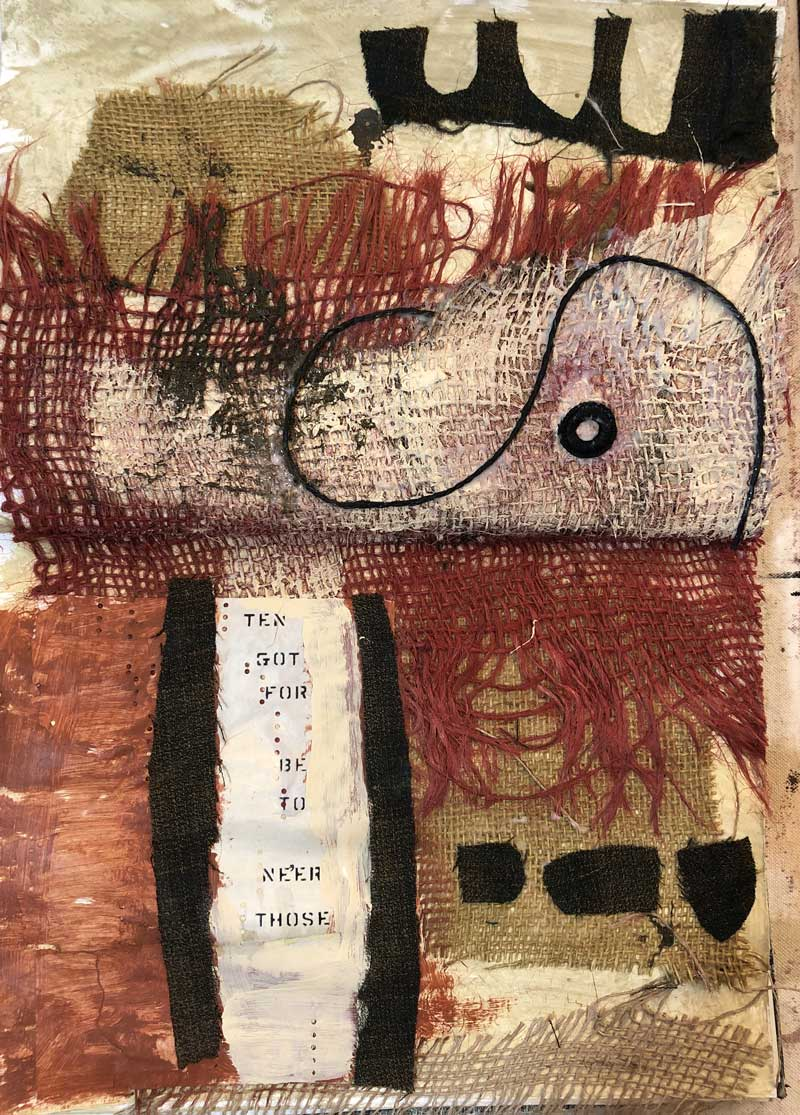 Sketchbook with burlap by artist Janet Jaffke
