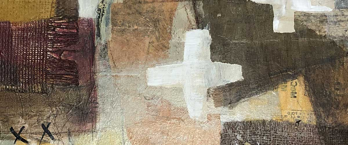 Detail - mixed media on wood by artist Janet Jaffke