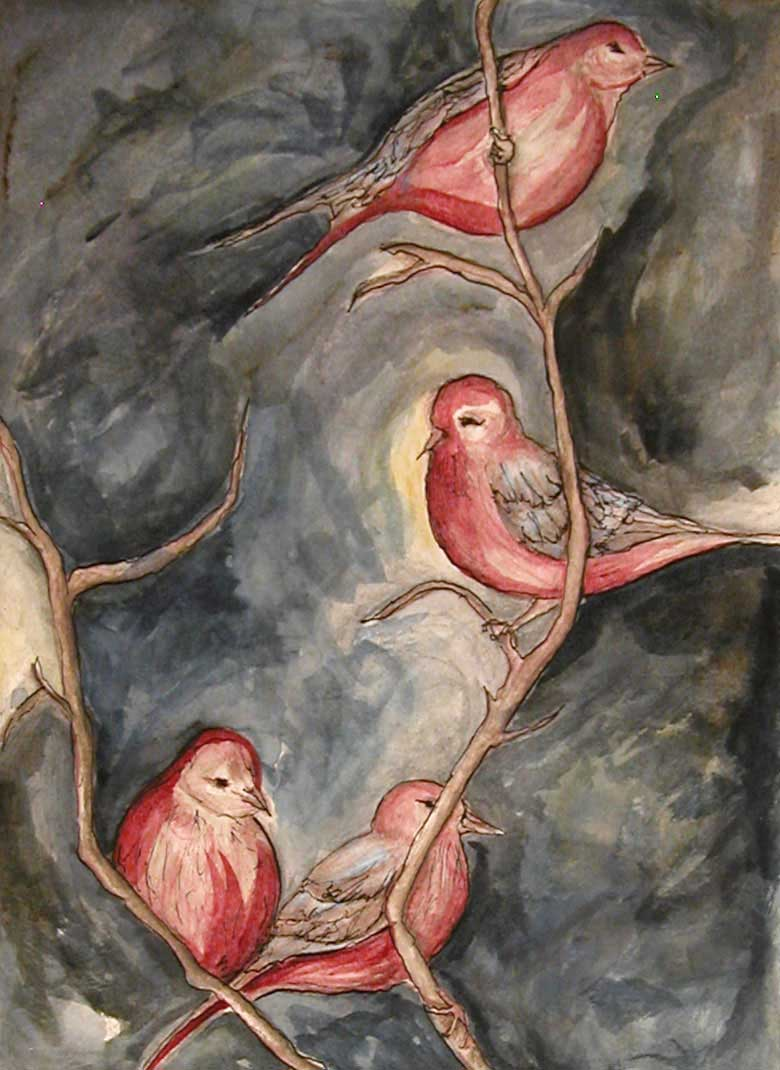 Pink Finches by Janet Jaffke