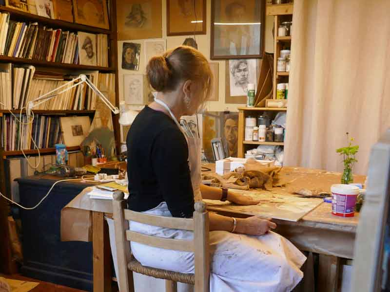 Artist Janet Jaffke in the studio at Palmerino, Florence, Italy