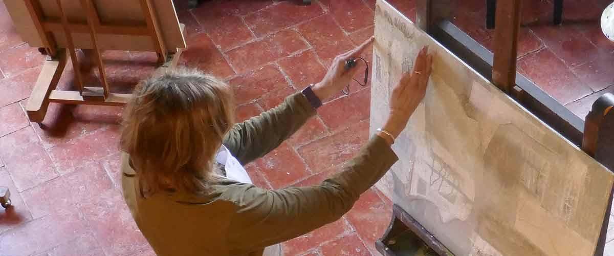 Artist Janet Jaffke in the Palmerino studio, Florence, Italy