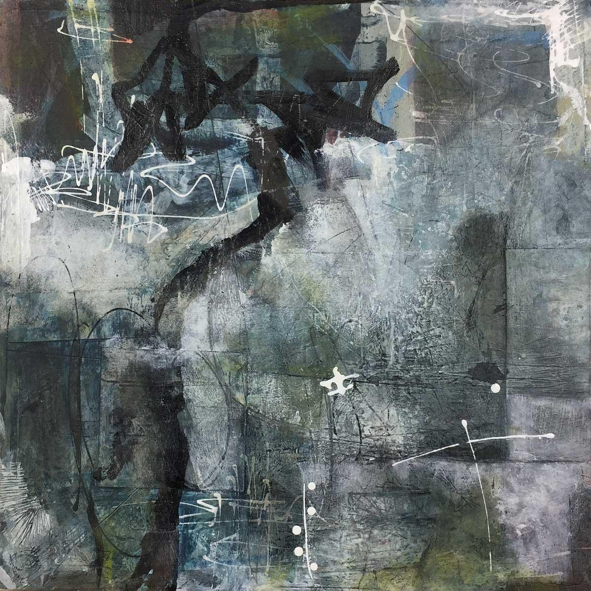 "Janet Jaffke acrylic mixed media painting ""Urban Ice Cave"""