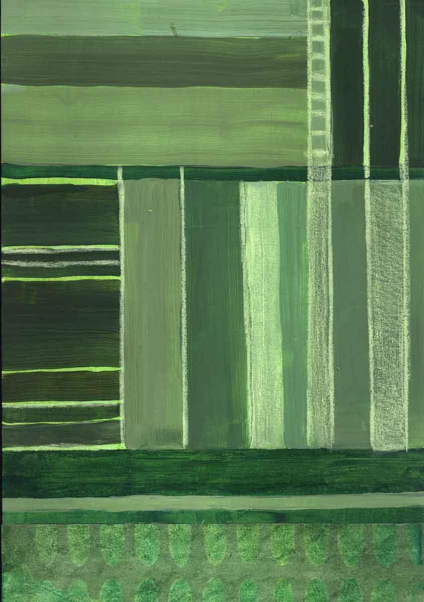 Janet Jaffke - monochromatic stripes in green #3