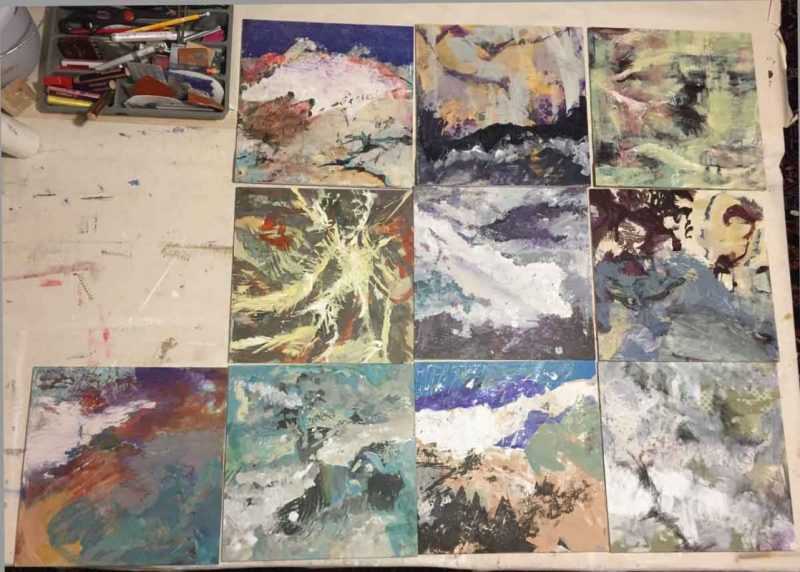 Photo of Death Valley paintings in progress