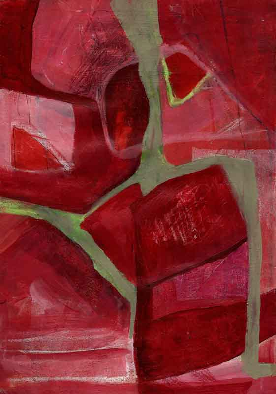 Red abstract painting by Janet Jaffke