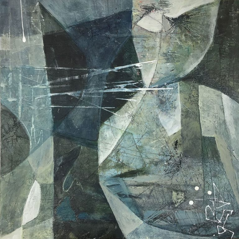 "Janet Jaffke acrylic mixed media painting ""Out of the Blue"""