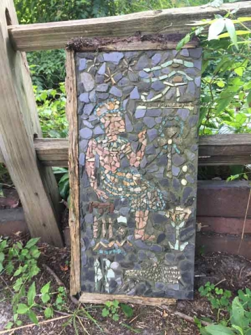 Stone mosaic by artist Phil Schuster at Blueberry View Artist Retreat