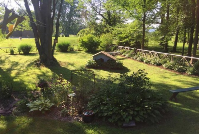 Eclectic gardens at Blueberry View Artist Retreat