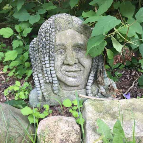Just one of the many cement sculptures by Phil Schuster found at Blueberry View Artist Retreat