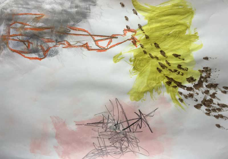 Combining paint scribbles with marks