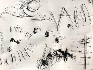 Marks made with handmade brush