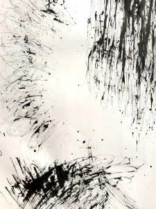 Marks made from a handmade raffia brush